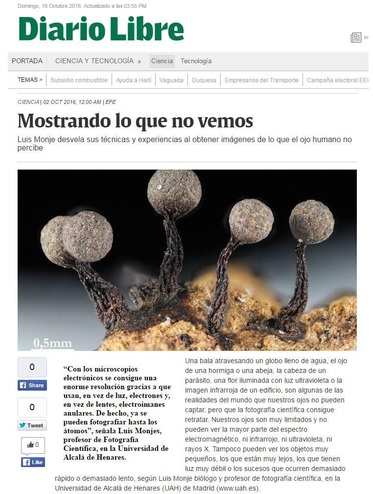 Luis Monje en Diario Libre de la República Dominicana