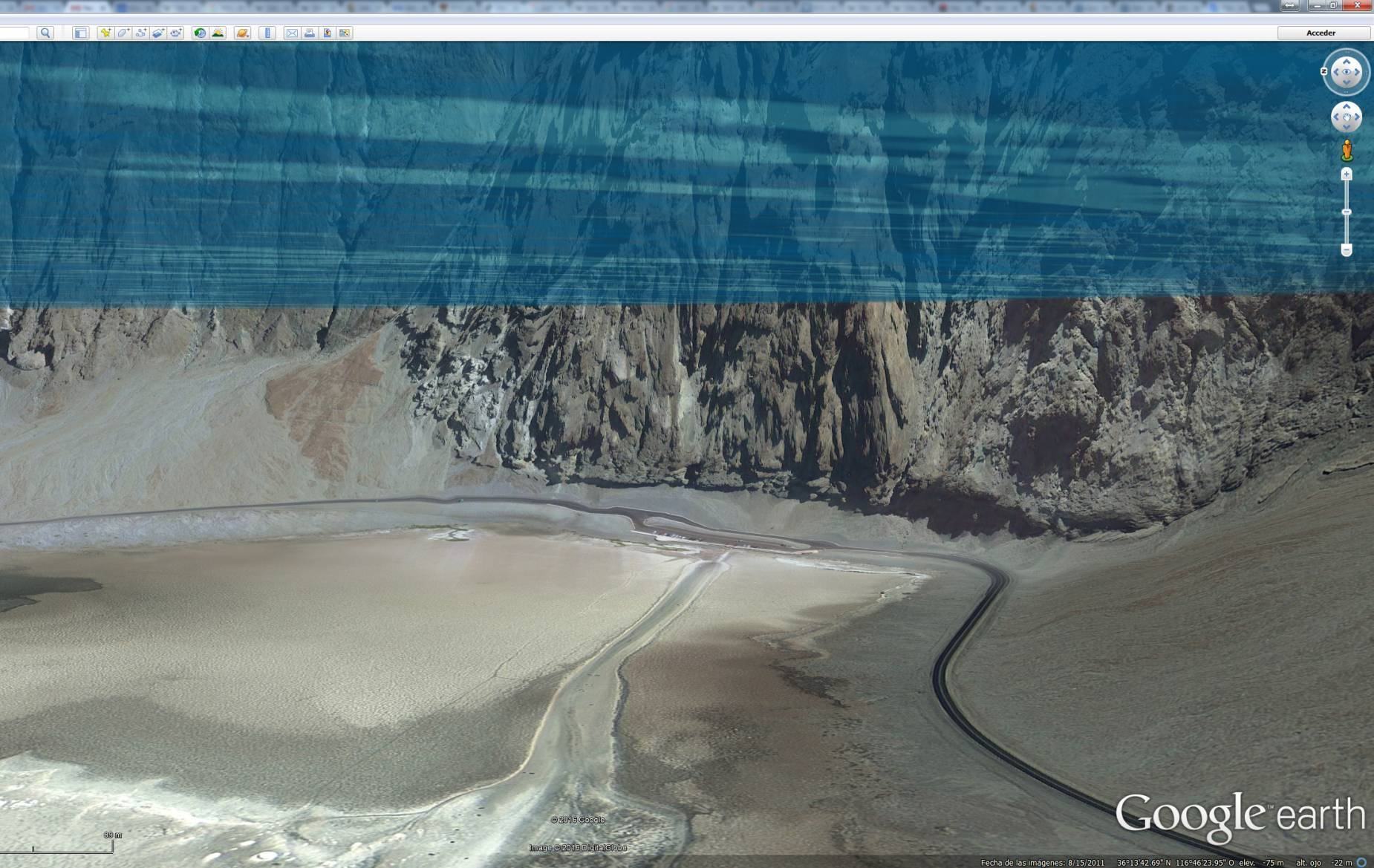 Badwater visto en Google Earth