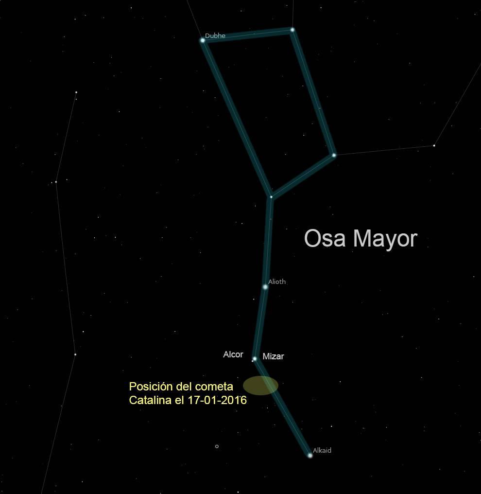 Situación del cometa Catalina el 17 de enero de 2016 a la una de la madrugada, hora oficial